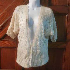 LOFT sweater crean color, short sleeve, size MP